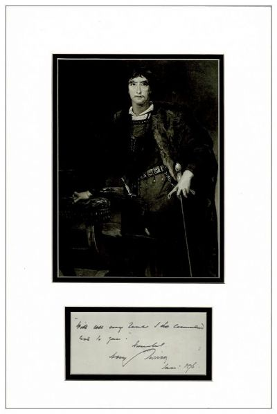 Henry Irving Autograph Quotation Display